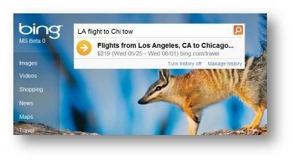 Bing Autosuggest Flight Price 2