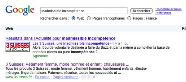 Google Bombing 3 Suisses