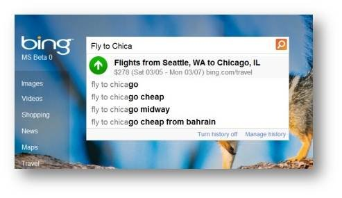 Bing Autosuggest Flight Price 1