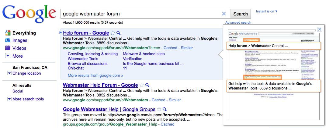 Google Apercus Instantanés