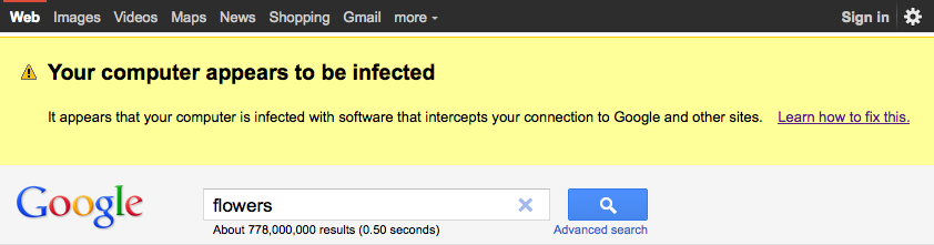Google Malware Warning