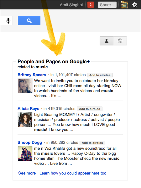 Google SERP Personal results