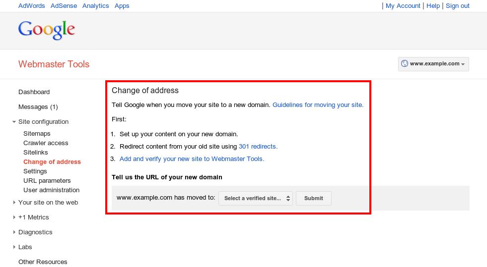 Google Webmaster Tools - change URL