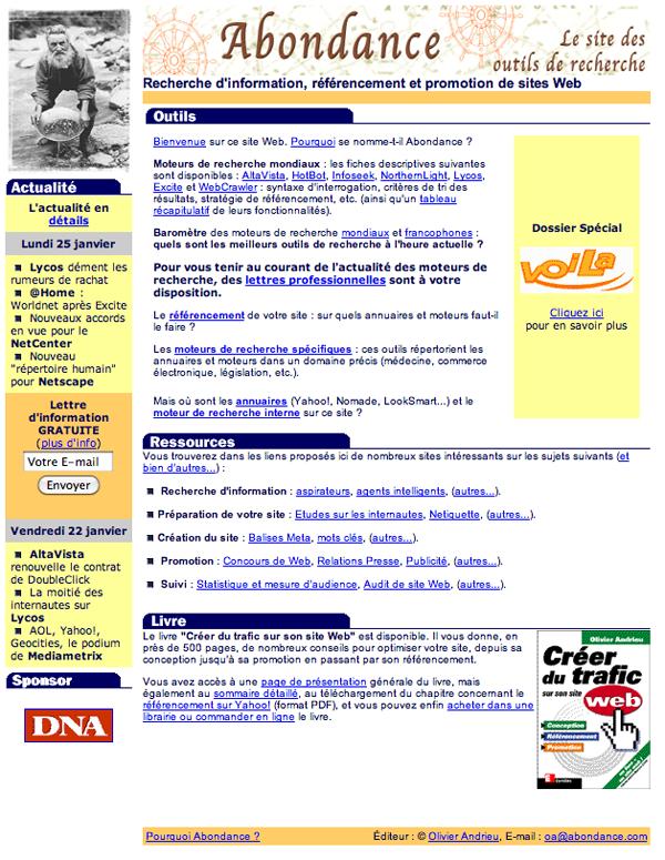 premiere version du site Abondance