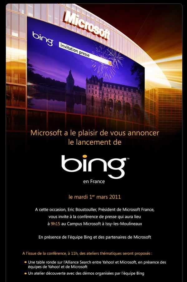 Bing France invitation