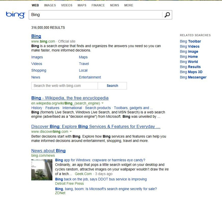 Bing nouvelle version