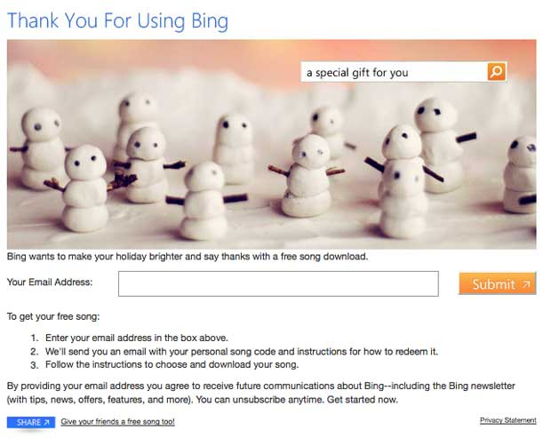 Bing Holiday Song Giveaway