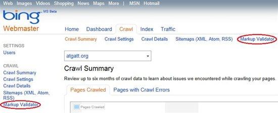 Bing Webmaster Tools Markup Validator