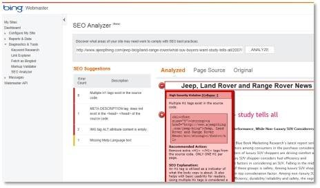 Bing Webmaster Tools SEO Analyzer