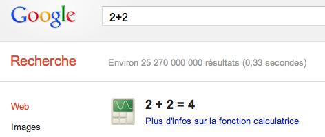 Calculette Google avant