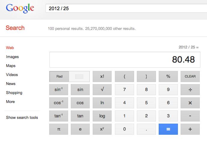 Calculette Google apres