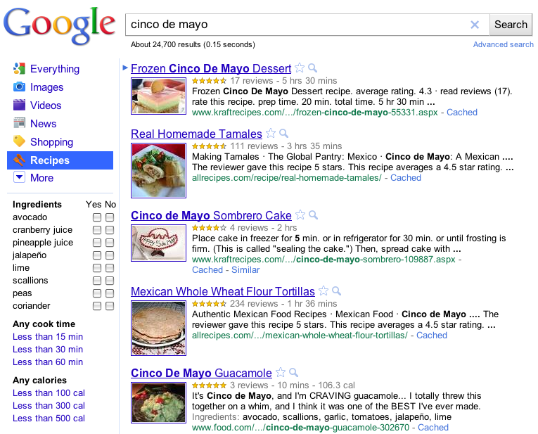 Recipe View Google