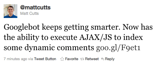 Matt Cutts ajax javascript