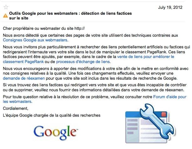detection liens factices google
