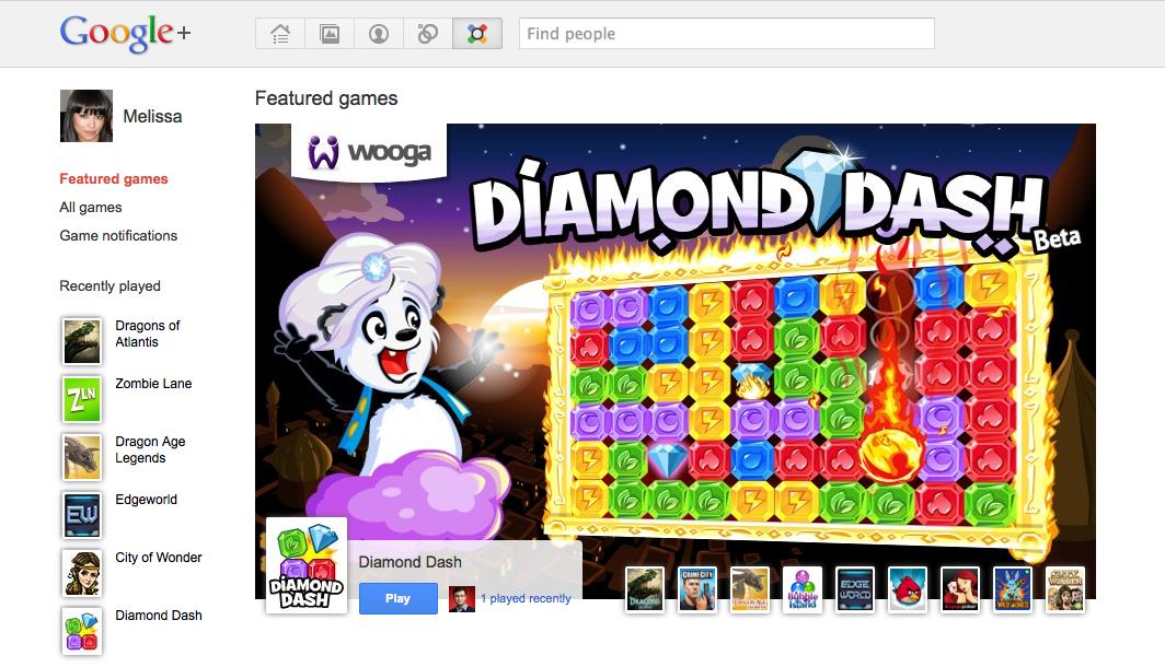 Google Games homepage