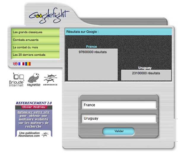 Googlefight France Uruguay
