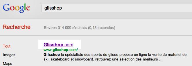 Glisshop SERP Google