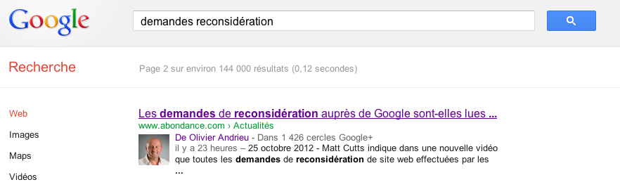 Google News demandes reconsideration