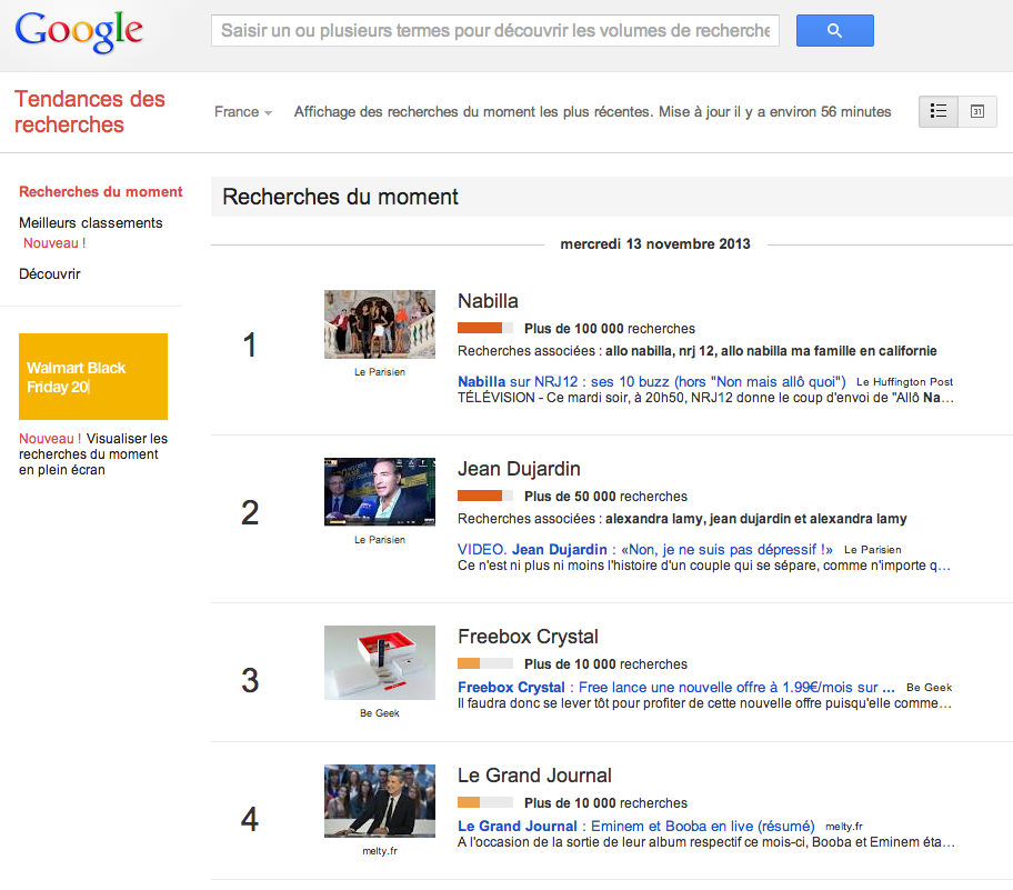 google tendances du moment