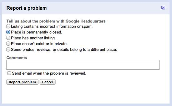 Google Adresses Closed