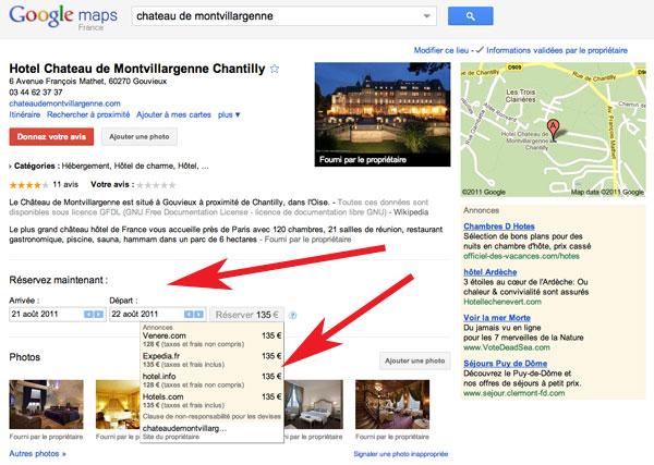Google Adresse reservation