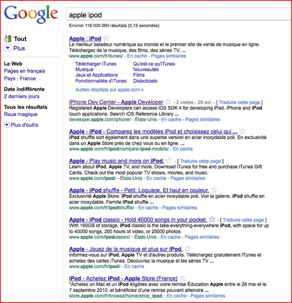 Google clustering apple ipod