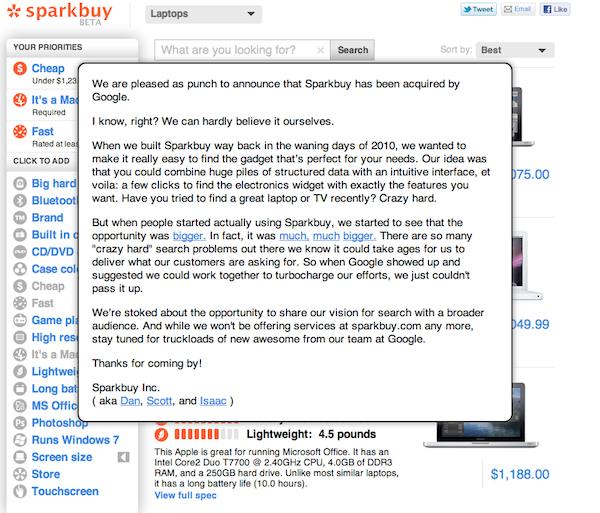 Google rachete Sparkbuy