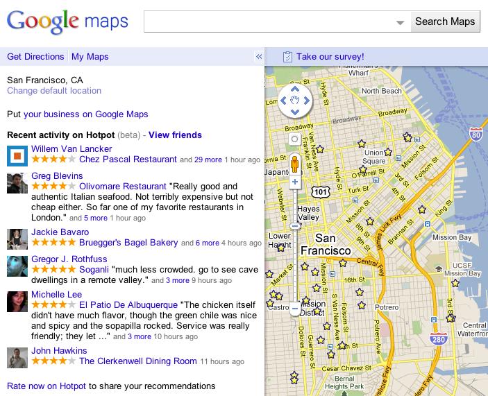 Google HotPot Maps