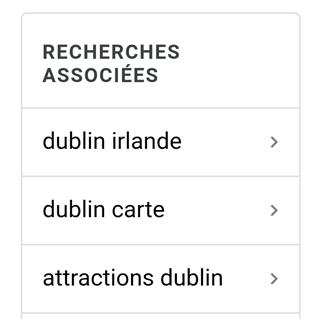 Google Images propose des requêtes associées