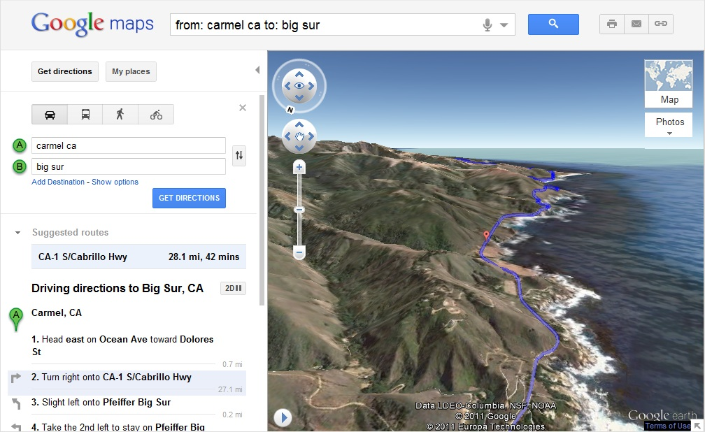 Google Maps helicoptere