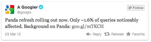 Tweet Google Panda 3.4