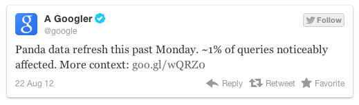 tweet google panda 3.9.1