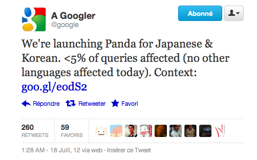 Google Panda Coree Japon