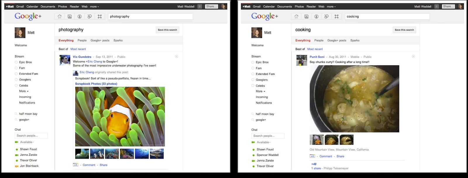 Recherche Google+