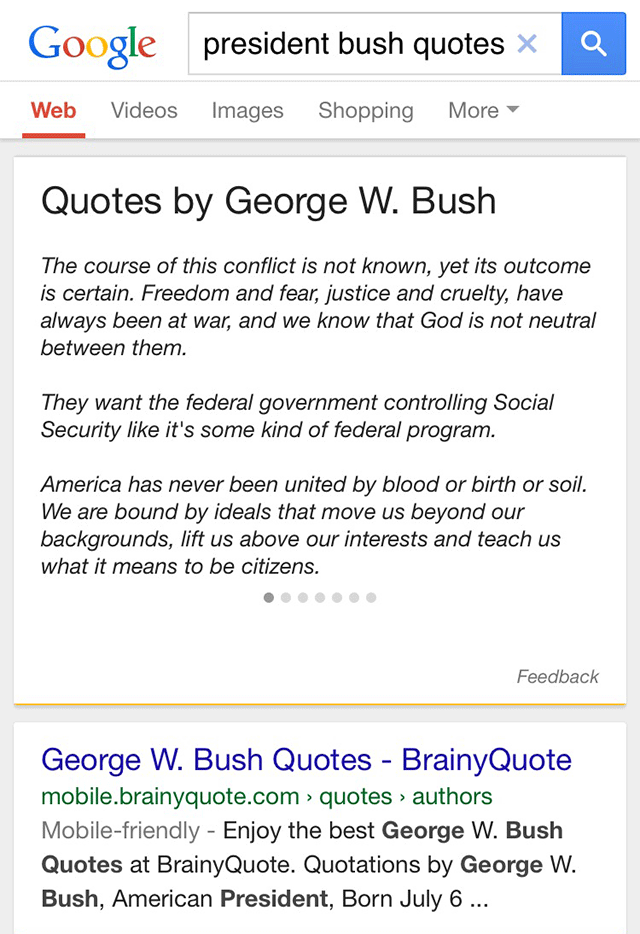 google-quotes-george-bush mobile