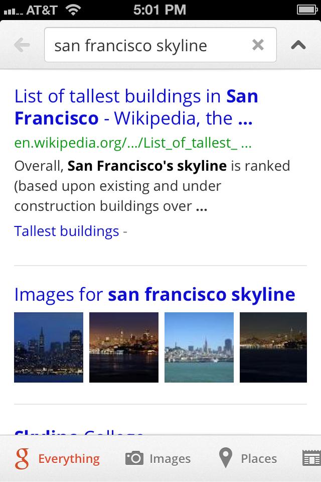 Google Search App Menu