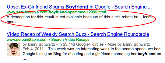 Google description bloquee robots.txt