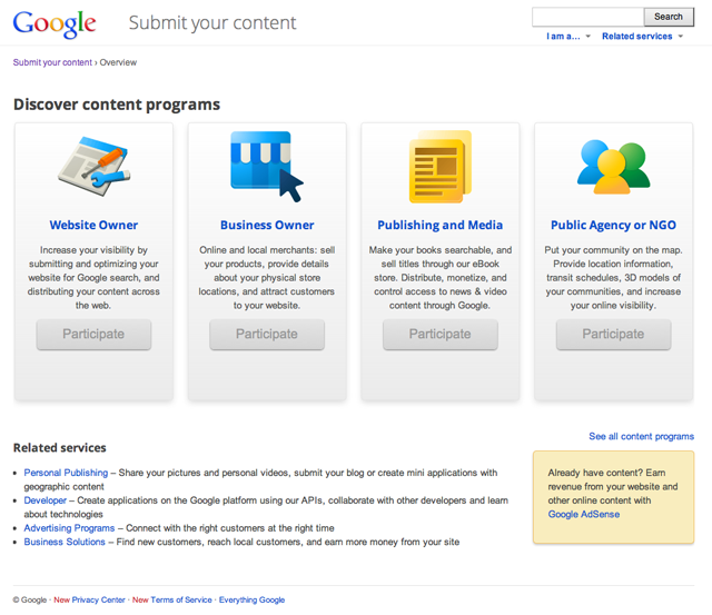 Google Submit Your Content