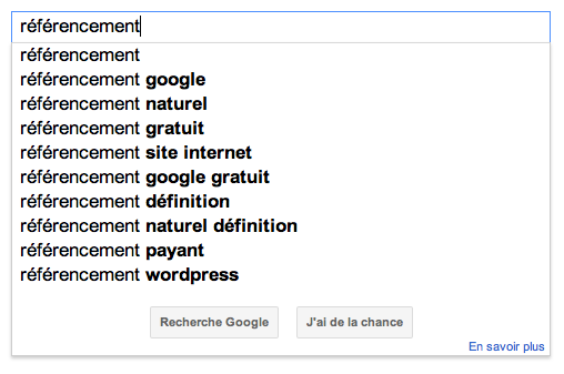 Google Suggest referencement