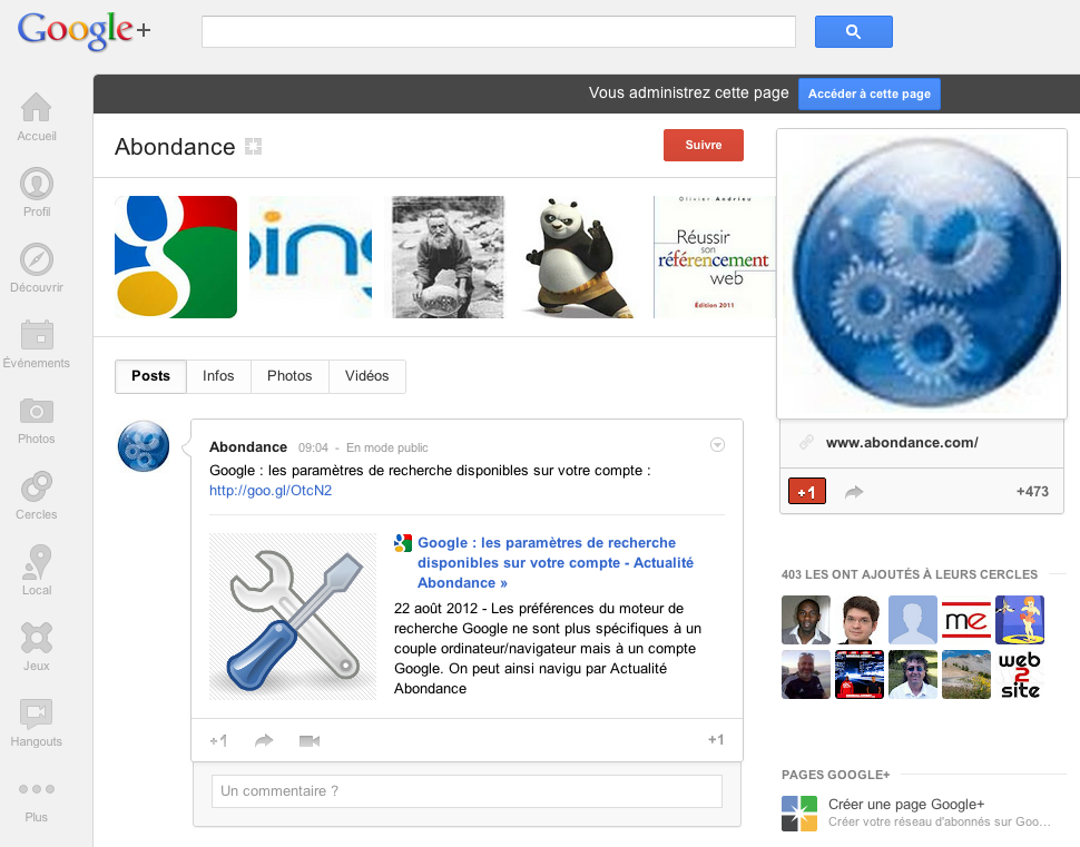 page google+ abondance