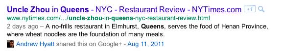 Google+ résulatts de recherche