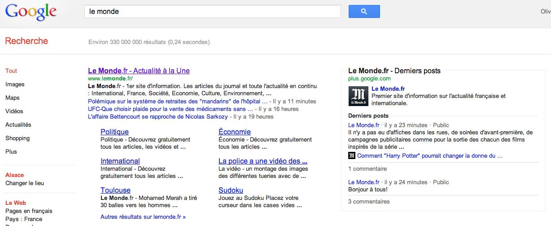 Google Plus dans les SERP