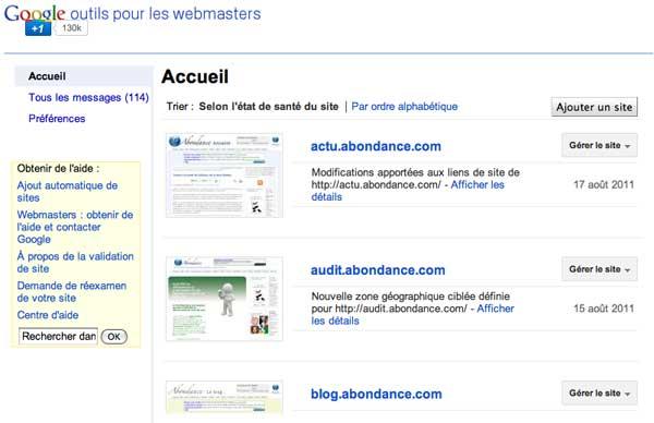 Accueil Google Webmaster Tools