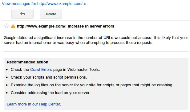 Google Webmaster Tools site error