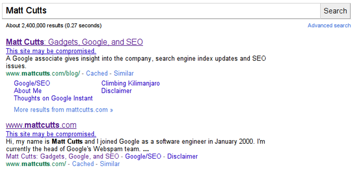 Sites hackés Google