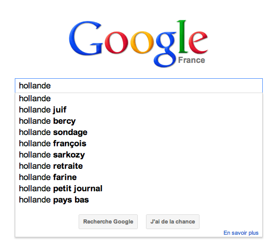 Google Suggest Hollande juif