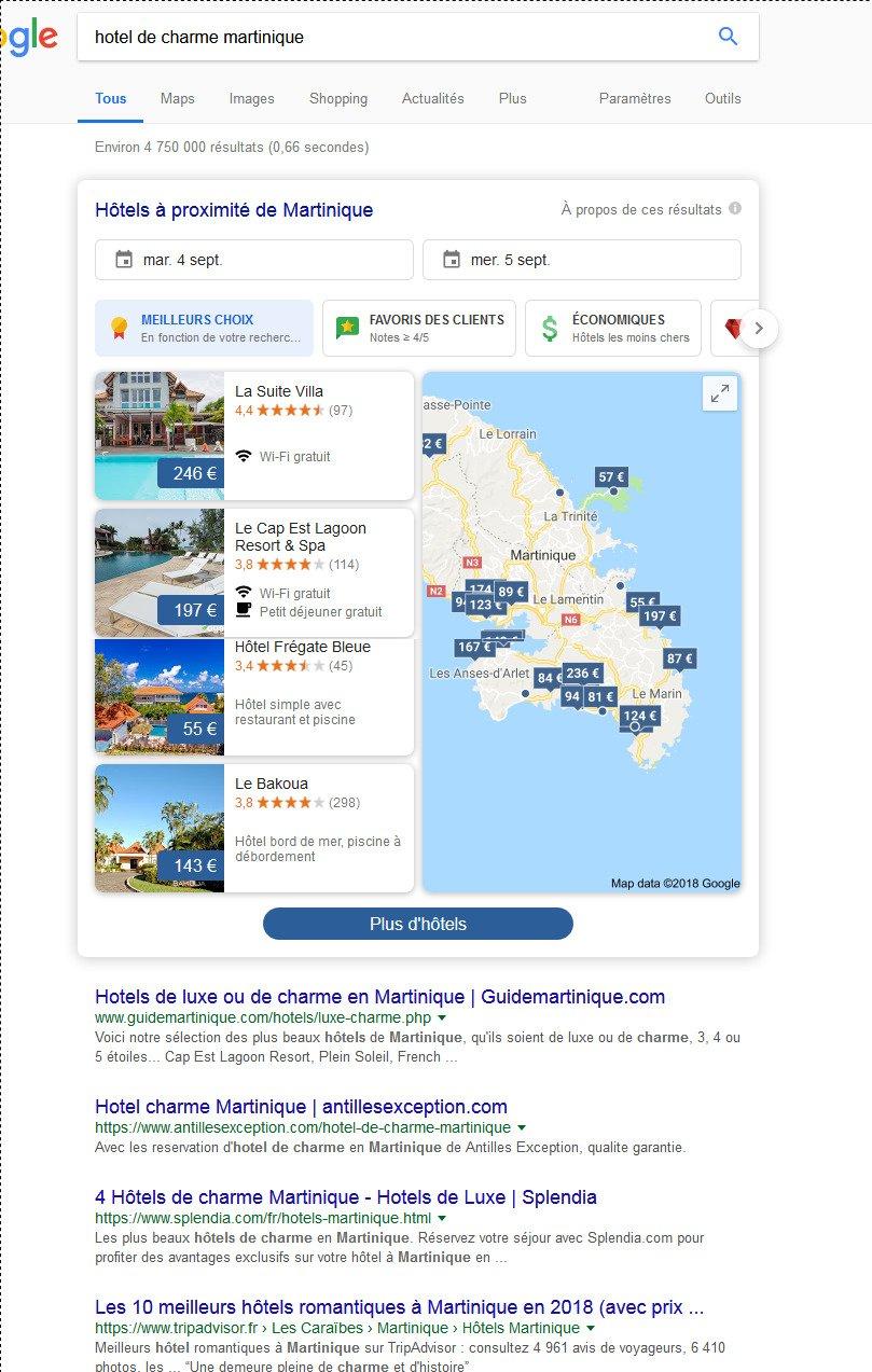 Un nouvel affichage du pack local Hôtels sur Google