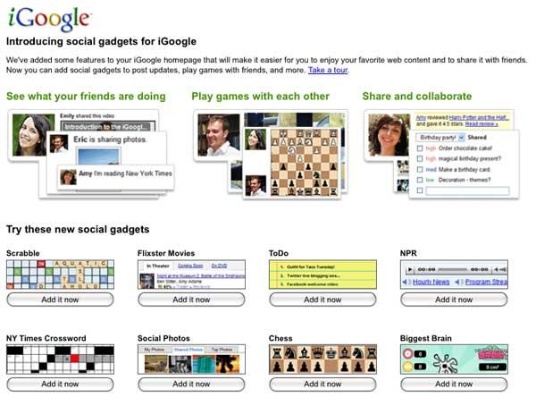 iGoogle social