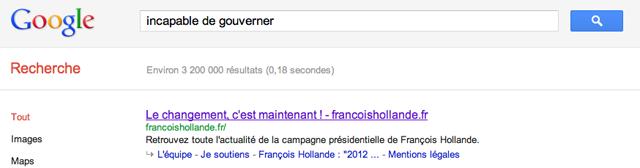 Incapable de gouverner Francois Hollande
