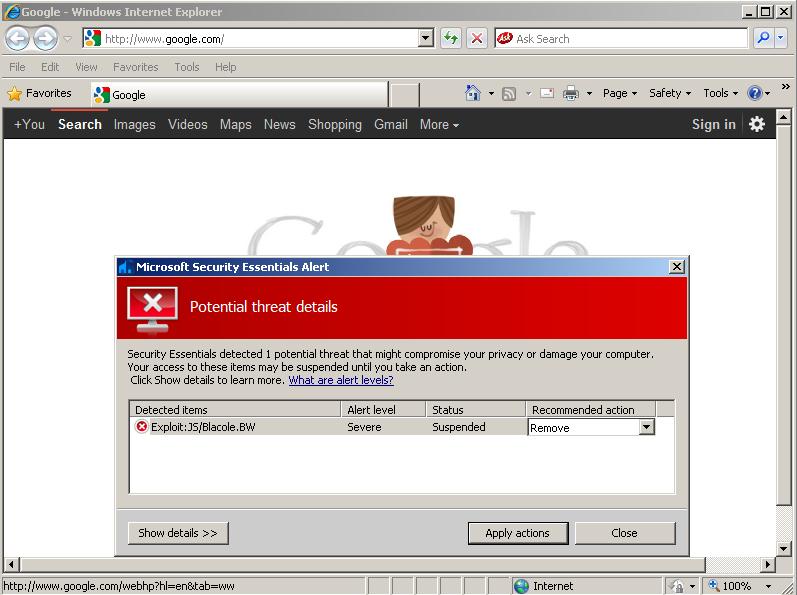 Google malware Microsoft